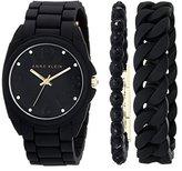 Anne Klein Women's AK/1956BKST Crystal-Accented Black Silicone Bracelet Watch Set