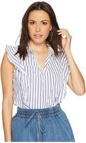 Bishop + Young Stripe Ruffle Top Women's Clothing