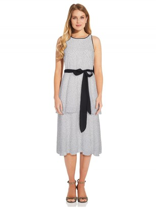 Adrianna Papell Polka Dot Printed Tiered Dress In Ivory/Black