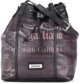 John Galliano newspaper print bucket