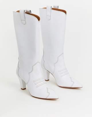 Gestuz Ness heeled cowboy boots-White