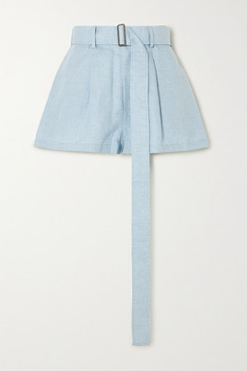 BONDI BORN Belted Linen Shorts - Sky blue