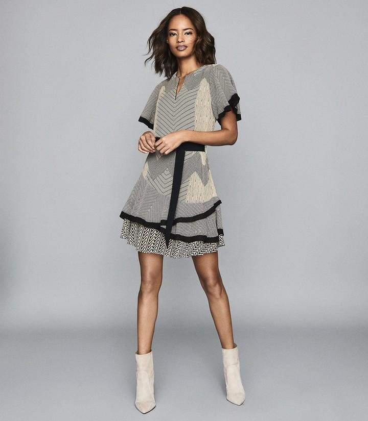 Reiss Hannah - Printed Mini Dress in Black/neutral