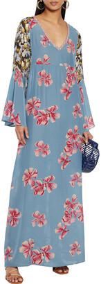 Anjuna Fiammetta Paneled Floral-print Silk-blend Crepe De Chine And Fil Coupe Georgette Kaftan