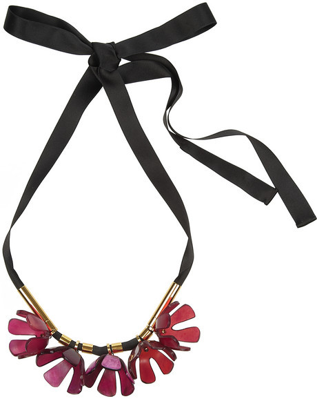 Marni Horn and brass floral necklace