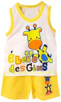 SODIAL(R) Baby Kids Clothes Set,Girls Boys T shirt+Pants Undershirt Shorts,Kids Pajama Set,Children T Shirts New-Giraffe Yellow,4T