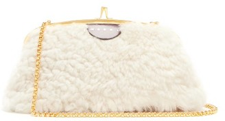 Marni Cindy Shearling And Leather Cross-body Bag - White Multi