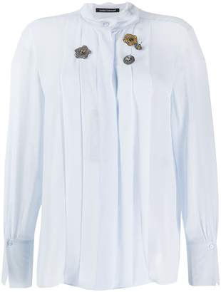 Luisa Cerano pleated bib mandarin collar shirt