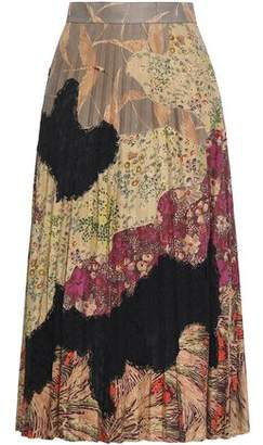 Valentino Pleated Lace-paneled Printed Suede Midi Skirt