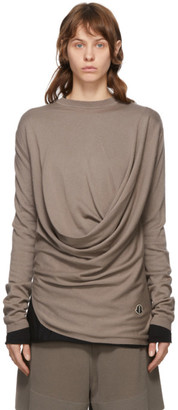 Rick Owens Taupe Moncler Edition Cashmere Drapefront Sweater