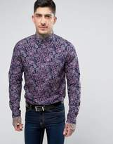 Pretty Green Chelsea Paisley Shirt in Purple