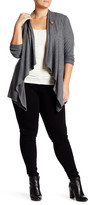 Bobeau One Button Fleece Cardigan (Plus Size)