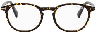Tom Ford Tortoiseshell Blue Block Round Glasses
