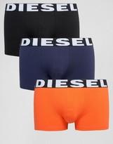 Diesel Logo Waistband Trunks In 3 Pack