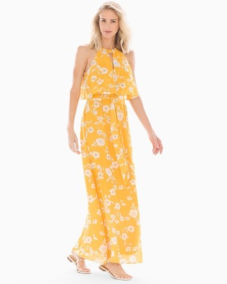 Soma Intimates Halter Maxi Dress Yellow Multi