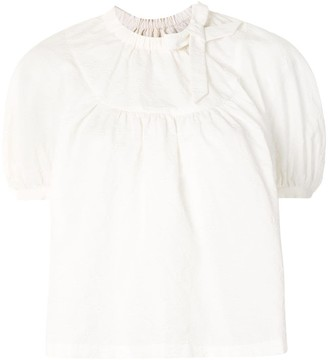 SHUSHU/TONG Floral Embroiled Bell-Sleeve Blouse