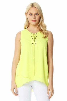 Roman Originals Women Eyelet Detail Lace Up Vest Top - Ladies Casual Everyday Summer Holiday Travel Sleeveless Loose Round Neck Trendy Floaty Lightweight Tie up - Lime - Size 10