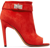 Givenchy Suede Peep-toe Ankle Boots - Red