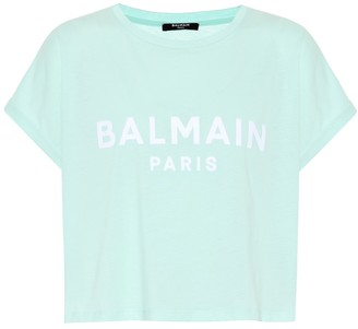 Balmain Cropped logo cotton T-shirt