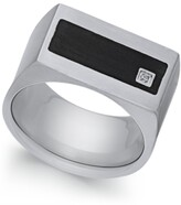 Thumbnail for your product : Sutton by Rhona Sutton Men's Stainless Steel Cubic Zirconia and Black Enamel Ring