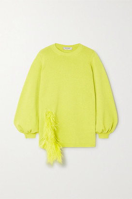 Valentino Feather-trimmed Wool And Cashmere-blend Sweater - Green