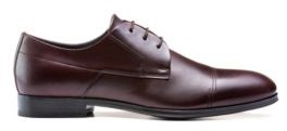 HUGO BOSS Polished-leather Derby shoes with stitch detailing