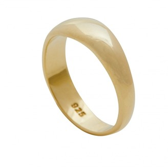 Simply Silver Sterling Silver 925 14ct Yellow Gold Polished Ring - SMALL