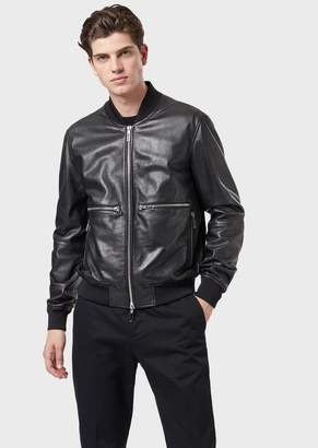 Emporio Armani Bomber Jacket In Vegetable-Tanned Lambskin Nappa Leather