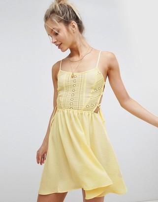 Asos Design DESIGN Broderie Tie Side Beach Dress-Yellow