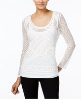 INC International Concepts Mixed-Media Sheer Top, Only at Macy's
