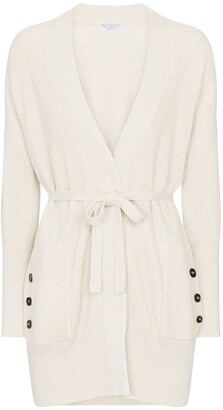 Brunello Cucinelli Belted ribbed-knit cotton cardigan