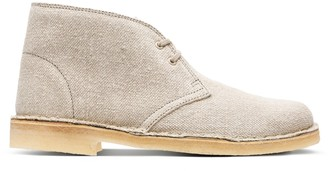 Clarks Desert Boot Textile Boots in Natural Canvas Standard Fit Size 4 Beige