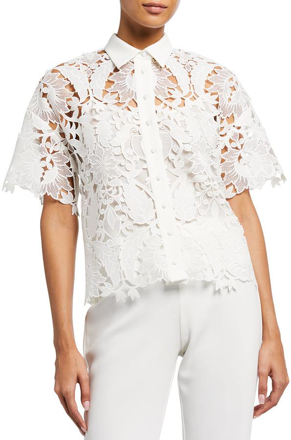 Badgley Mischka Guipure Lace Collared Short-Sleeve Top