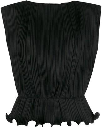 Givenchy Sleeveless Ruffled Hem Blouse