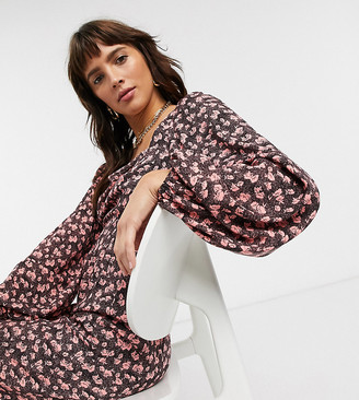Reclaimed Vintage inspired jumpsuit with puff sleeve in ditsy floral print