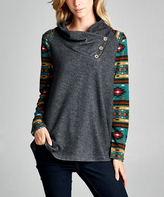 Tua Charcoal & Teal Geo Button Cowl Neck Top