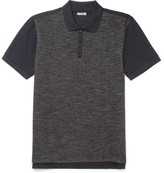 Lanvin - Slim-fit Piqué-panelled Wool And Cotton-blend Jersey Polo Shirt