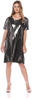 Norma Kamali Women's Short Sleeve Boxy Dress to Knee