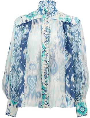 Zimmermann Glassy Ikat-print Linen-blend Organza Blouse - Blue Print