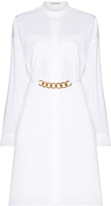 Givenchy Chain-Belt Long-Sleeve Shirtdress