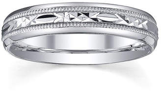 MODERN BRIDE Personalized 4mm Comfort Fit Criss-Cross Sterling Silver Wedding Band