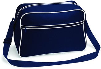 BagBase BG14 Retro Shoulder Bag French Navy/White