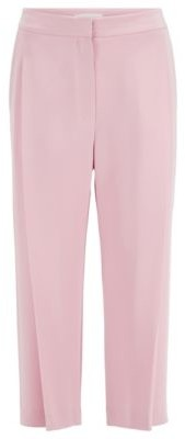 HUGO BOSS Wide Leg Relaxed Fit Silk Pants With Pleat Front - Light Purple