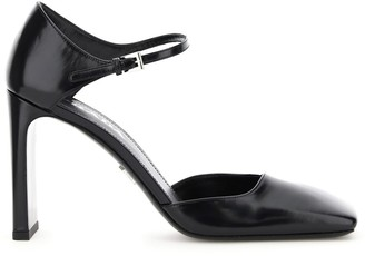 Prada Square-Toe Ankle Strap Pumps