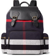 Burberry Pebble-grain Leather And Checked Canvas Backpack - Navy