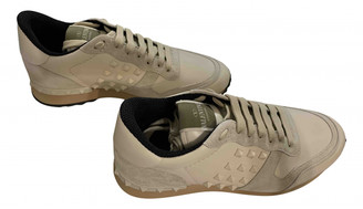 Valentino Rockrunner Beige Leather Trainers