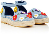 Stella McCartney Flower-Appliquéd Denim Espadrilles