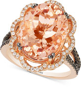 LeVian Le Vian Peach Morganite (7 ct. t.w.) and Diamond (3/4 ct. t.w.) Ring in 14k Rose Gold