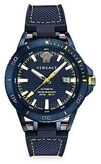 Versace Men's Sport Tech Diver Leather & Rubber Strap Watch
