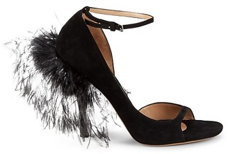 Valentino Suede Ostrich Feather D'Orsay Peep-Toe Pumps